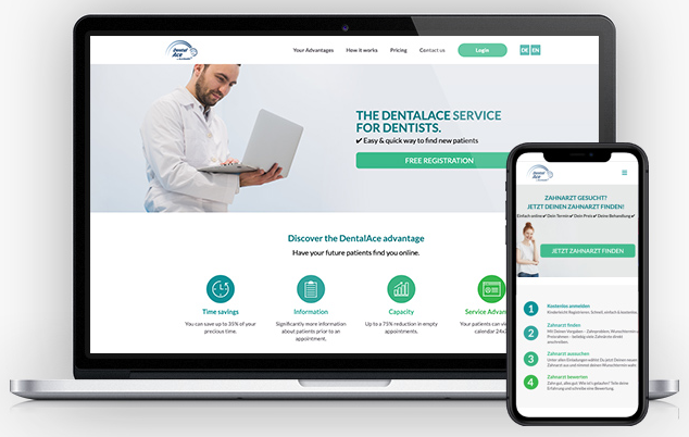 Build your responsive website with DentalAce to optimize your online appearance on computers and mobile devices
